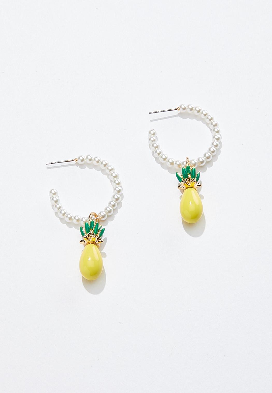Pineapple Pearl Hoop Earrings