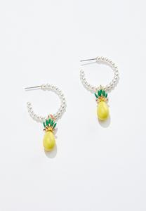 Pineapple Pearl Hoop Earrings