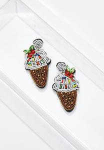 Seed Bead Ice Cream Cone Earrings
