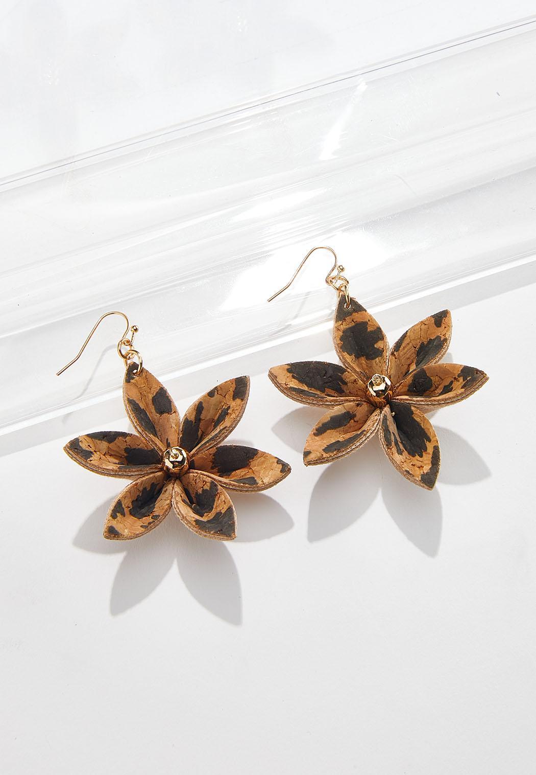 Leopard Cork Flower Earrings