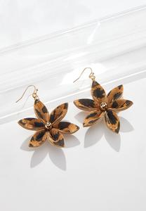 Leopard Cork Flower Earrings
