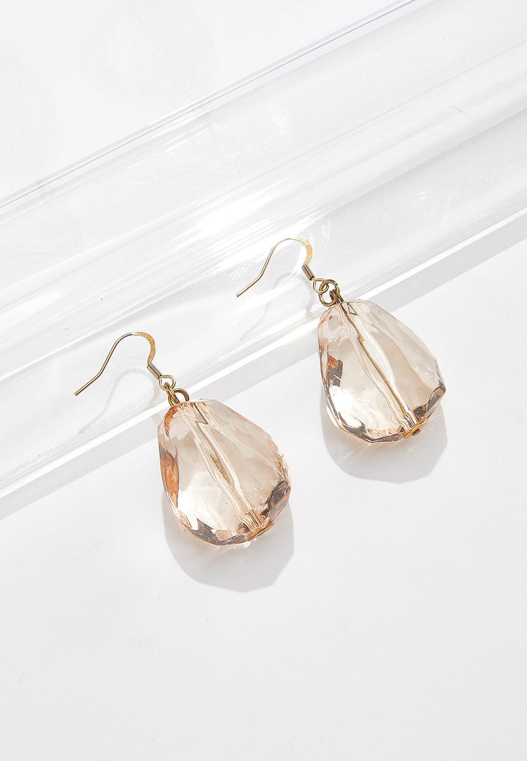 Faceted Stone Dangle Earrings