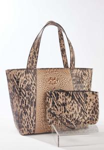 Leopard Croc Bag-In-Bag Tote