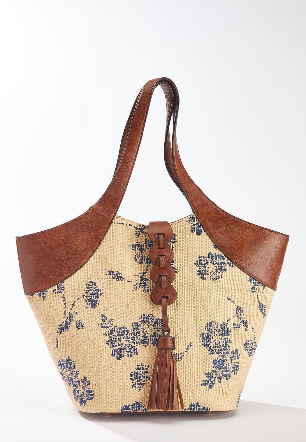Printed Raffia Leather Trim Handbag