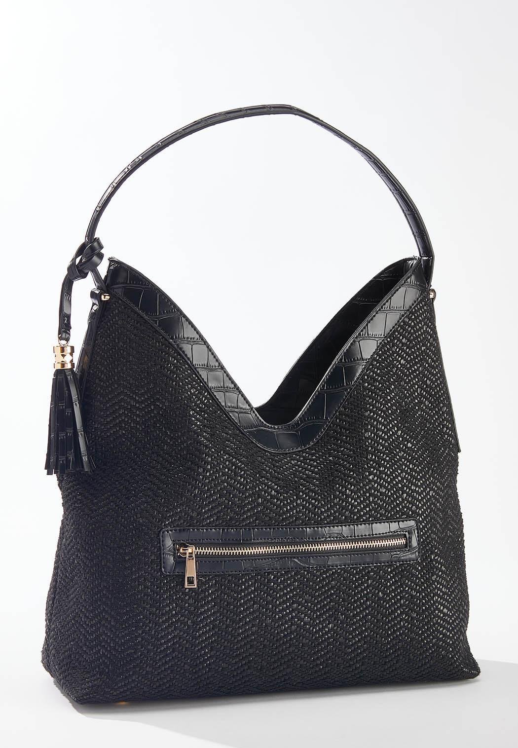 Croc Trim Woven Shoulder Bag