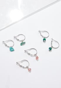 Shaky Bead Hoop Earring Set