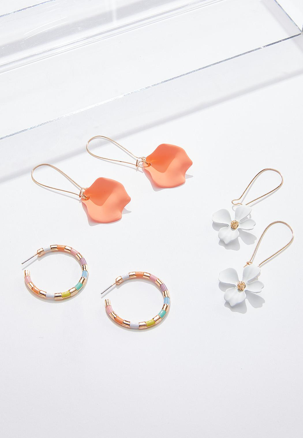 Rubberized Flower Earring Set