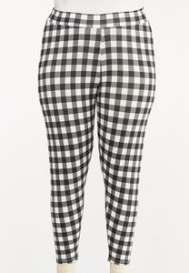 Plus Size Cropped Check Pants