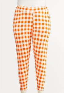 Plus Size Cropped Check Pants