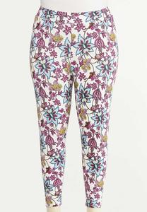 Plus Size Cropped Purple Floral Pants