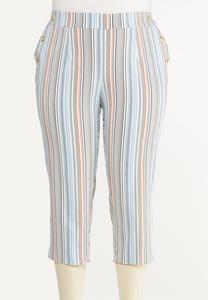 Plus Size Cropped Striped Pants
