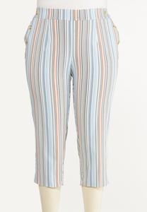 Plus Size Cropped Striped Pants