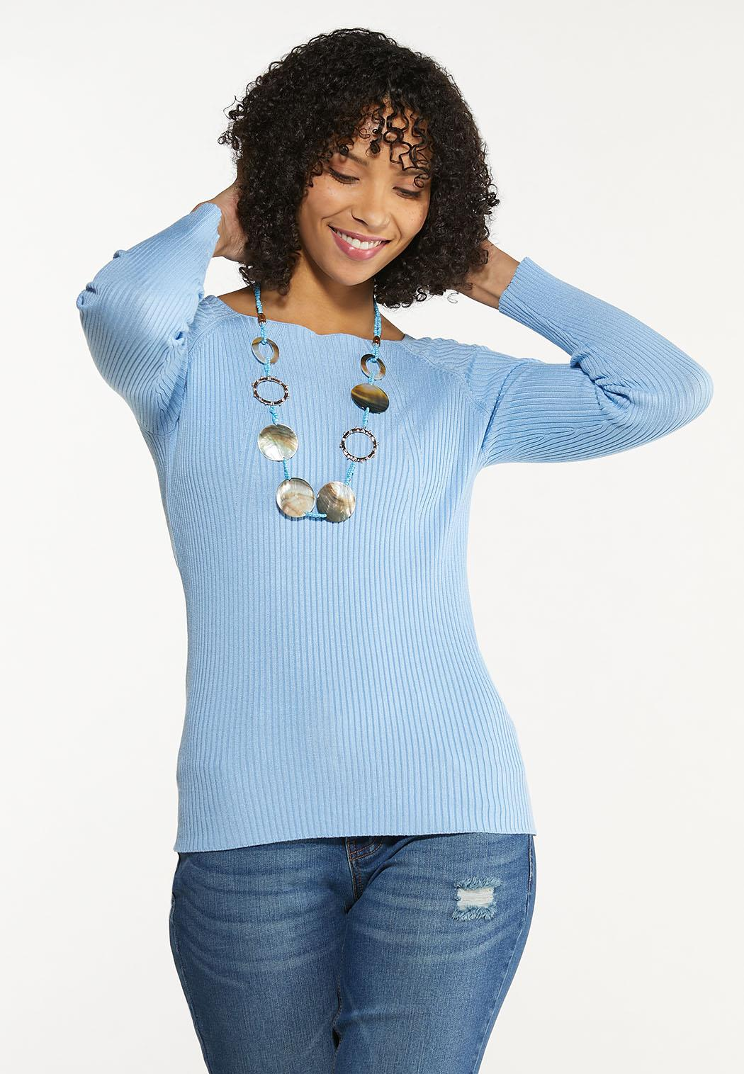 Plus Size Boat Neck Ribbed Sweater