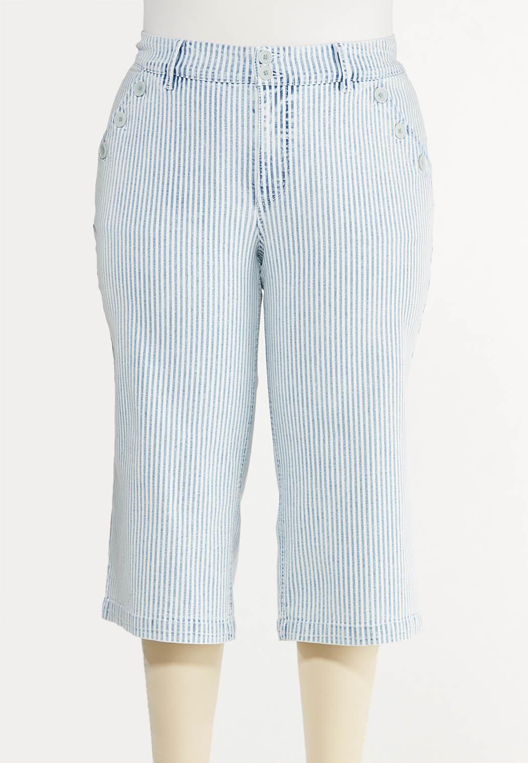 Plus Size Striped Cropped Skinny Jeans
