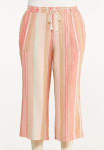 Plus Size Coral Stripe Linen Cropped Pants