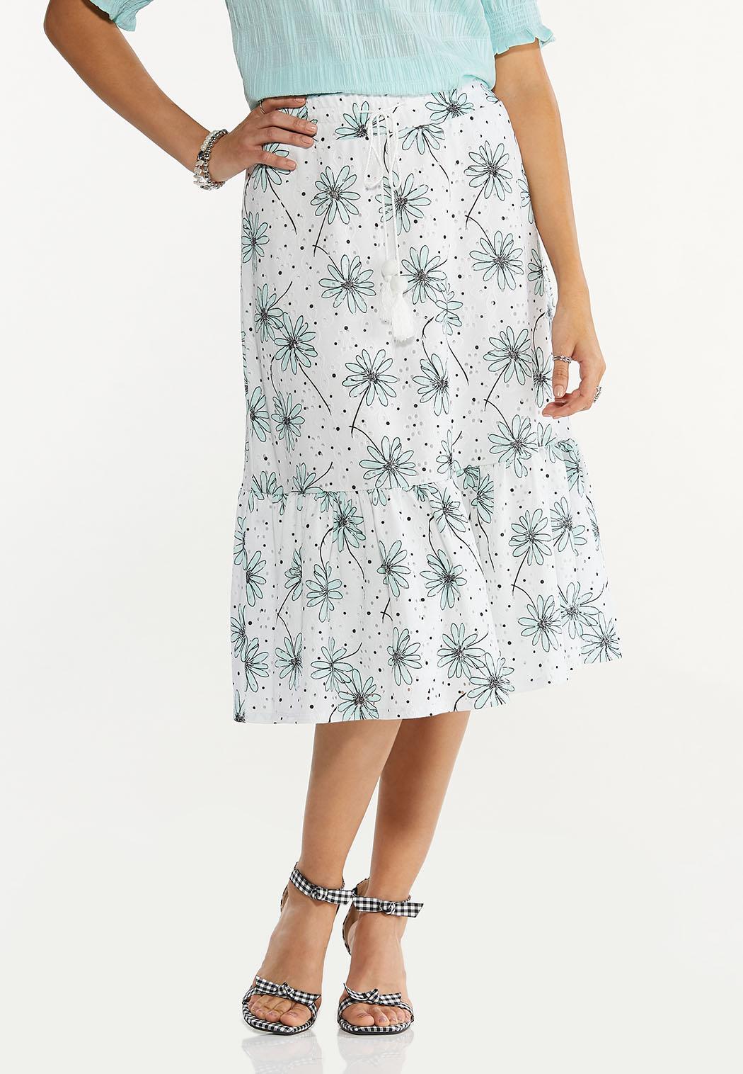 Daisy Eyelet Midi Skirt