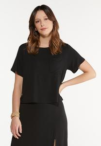 Plus Size Black Front Pocket Tee