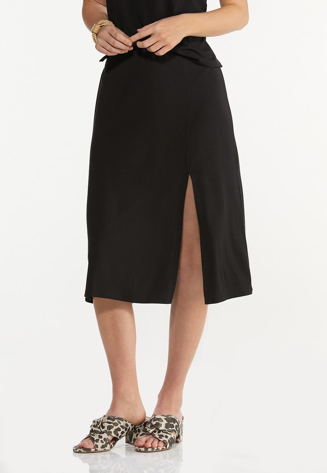 Plus Size Black Front Slit Skirt