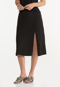 Plus Size Black Front Slit Skirt
