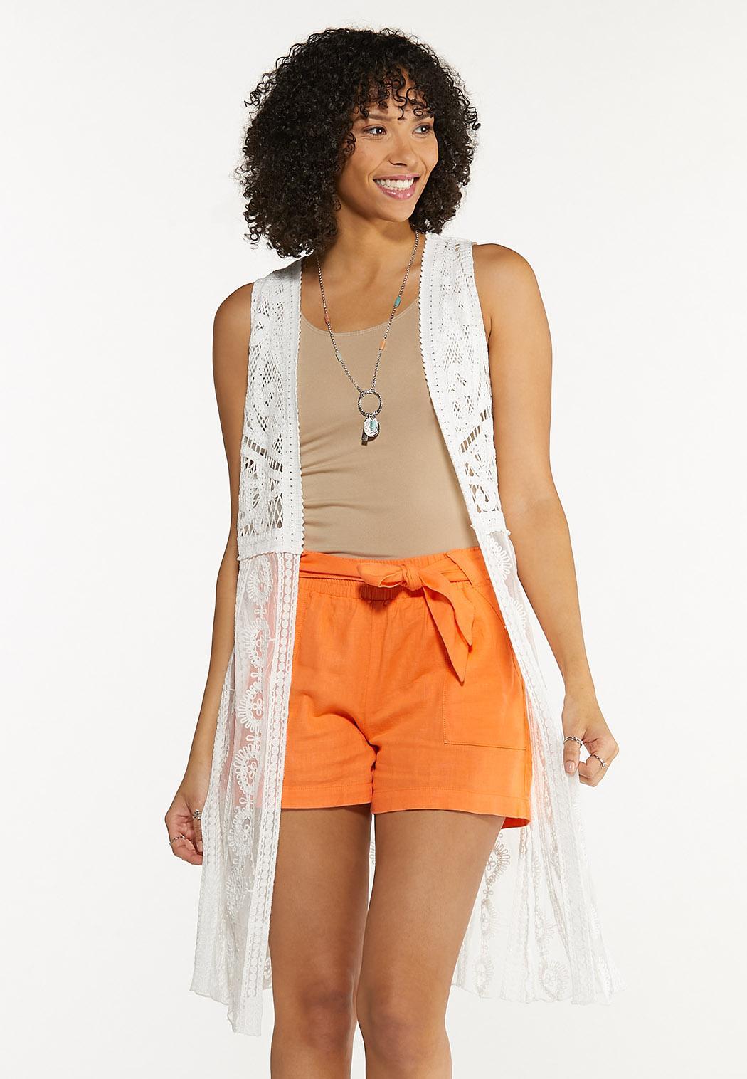 Plus Size White Crochet Vest