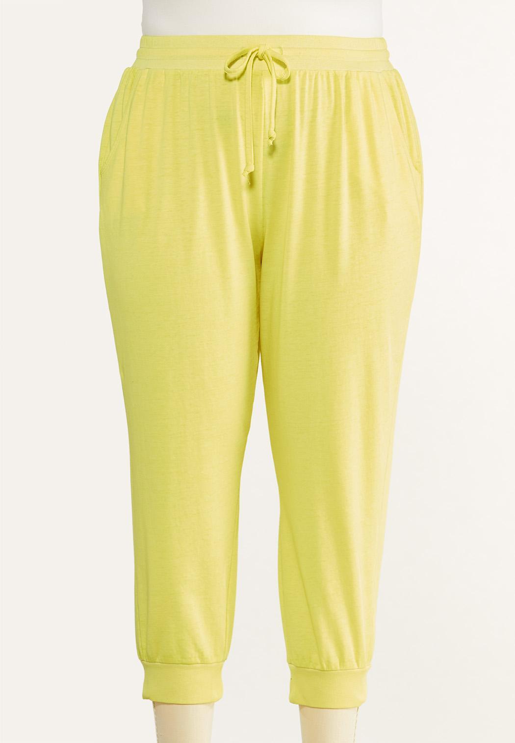 Plus Size Cropped Lemon Lime Joggers