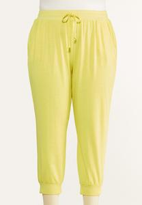 Plus Size Cropped Lemon Lime Joggers