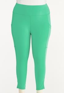 Plus Size Cropped Turquoise Leggings
