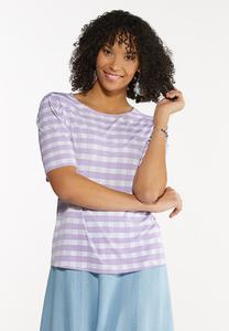 Plus Size Checkered Puff Sleeve Top