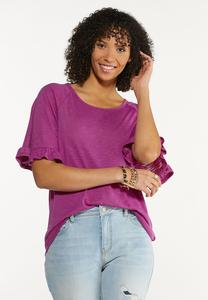 Plus Size Solid Flutter Sleeve Top