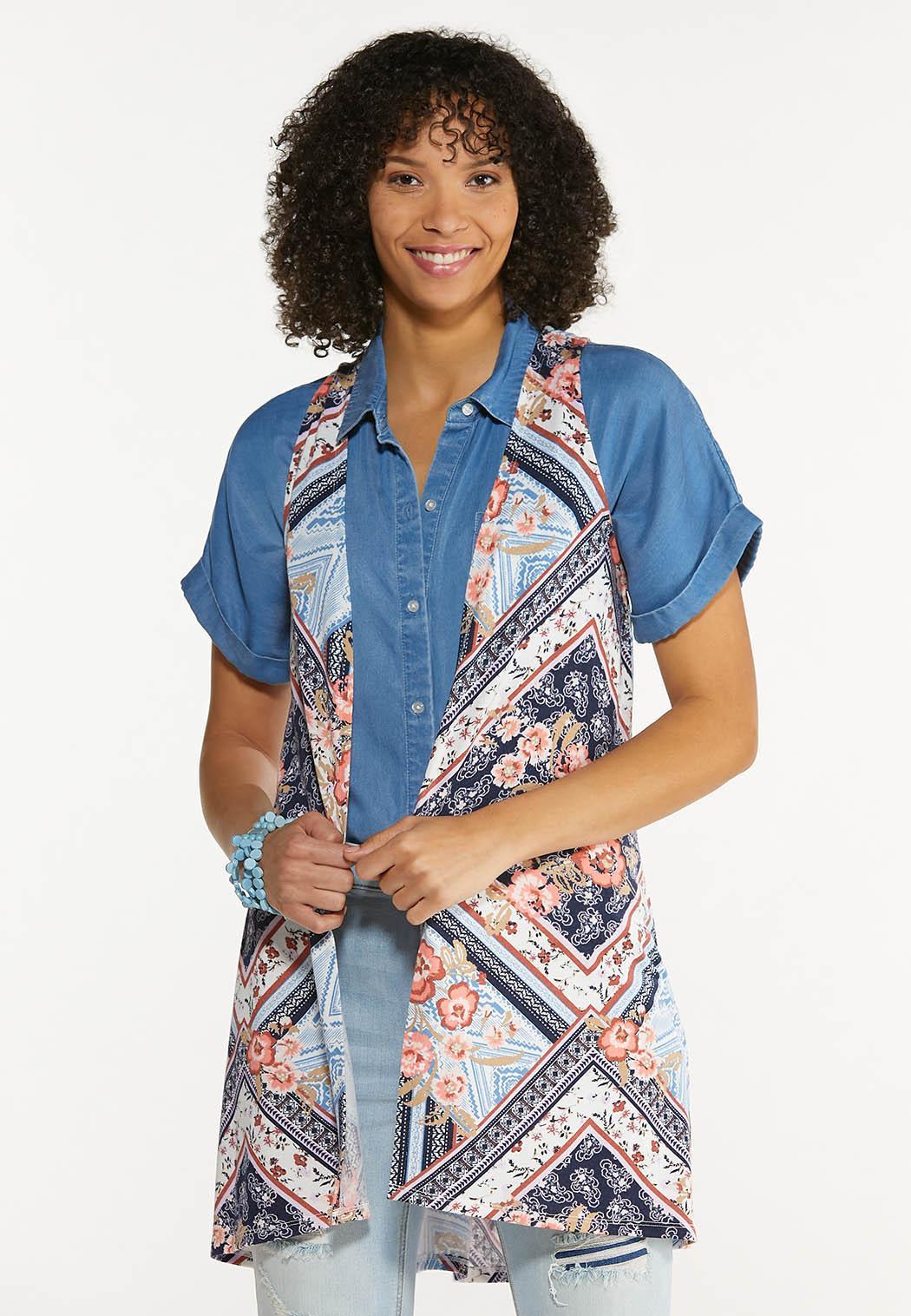 Plus Size Patchwork Hacci Vest