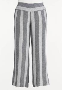 Plus Size Black Stripe Linen Pants