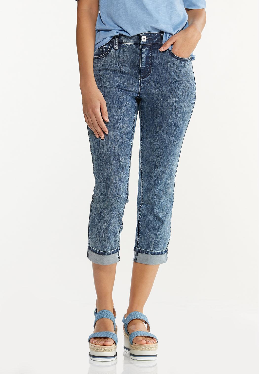 Cropped Vintage Wash Skinny Jeans