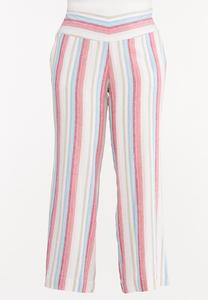 Plus Size Striped Linen Palazzo Pants