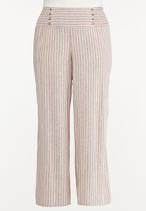 Plus Size Striped Smocked Linen Pants