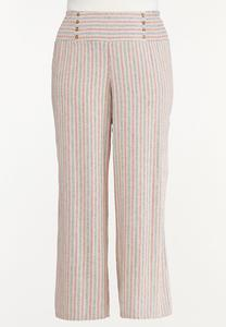 Plus Size Striped Smocked Linen Pants