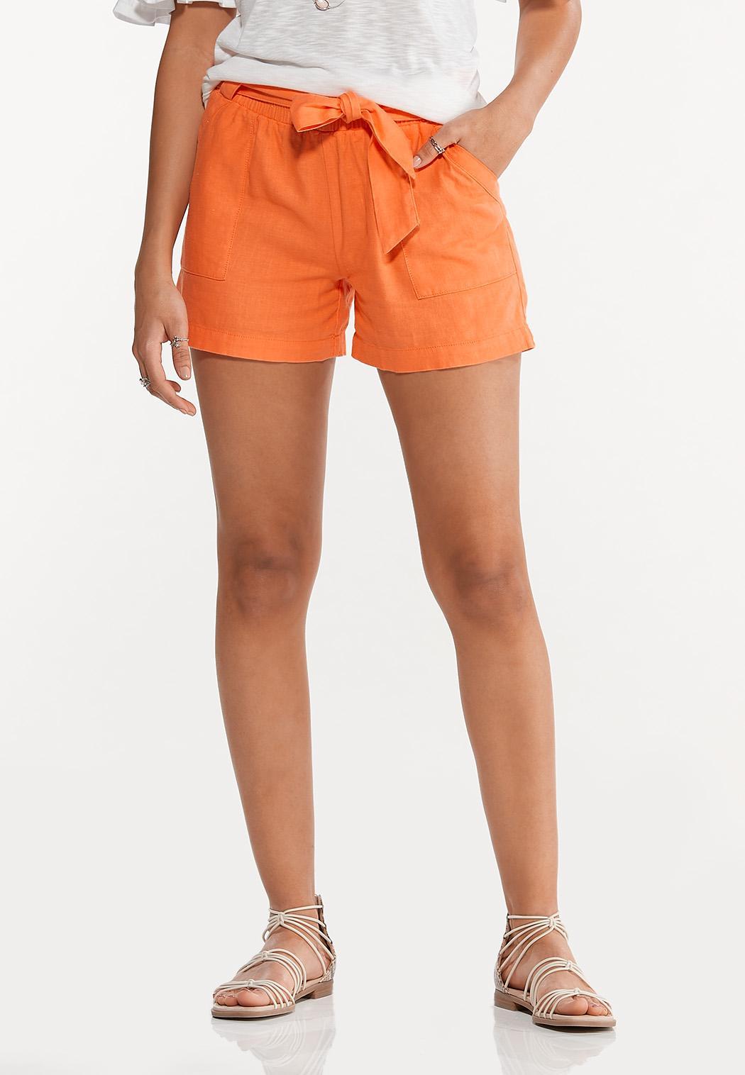 Orange Linen Shorts