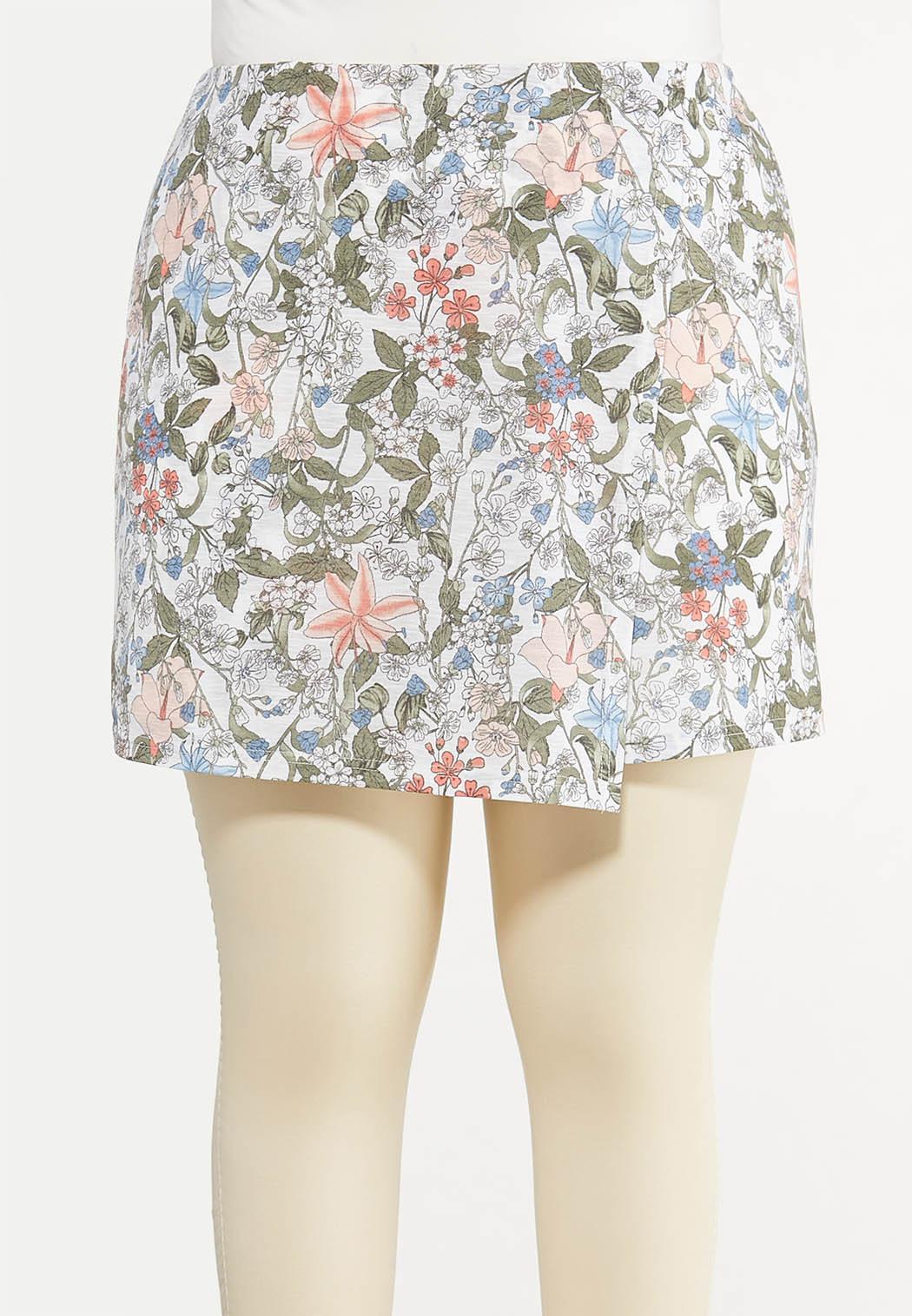 Plus Size Vintage Floral Skort