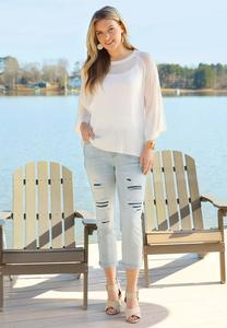 Cropped Distressed Boyfriend Jeans