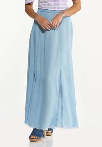 Plus Size Chambray Double Slit Skirt