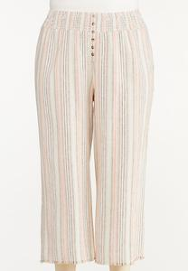Plus Size Striped Linen Cropped Pants