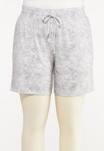 Plus Size Gray Tie Dye Shorts