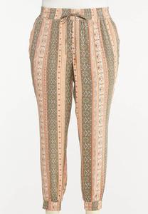 Plus Size Striped Challis Joggers