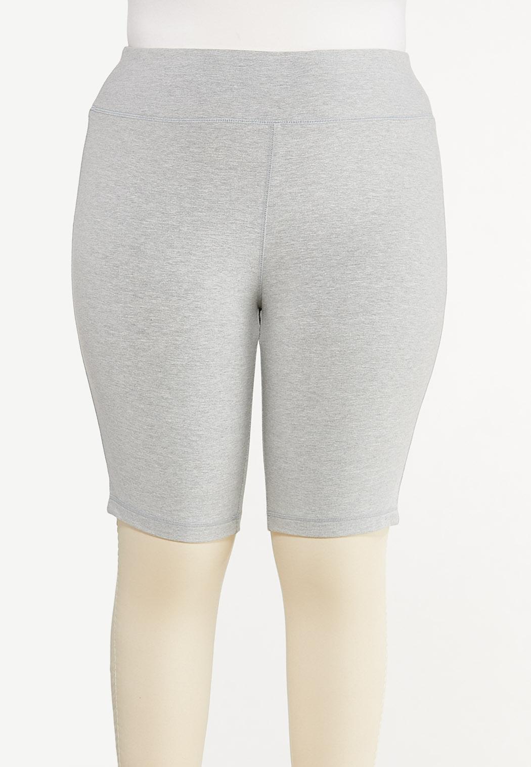 Plus Size Heather Gray Biker Shorts