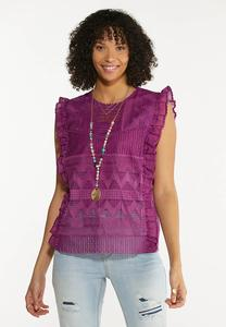 Ruffled Mesh Embroidered Top