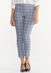 Cropped Navy Plaid Pants