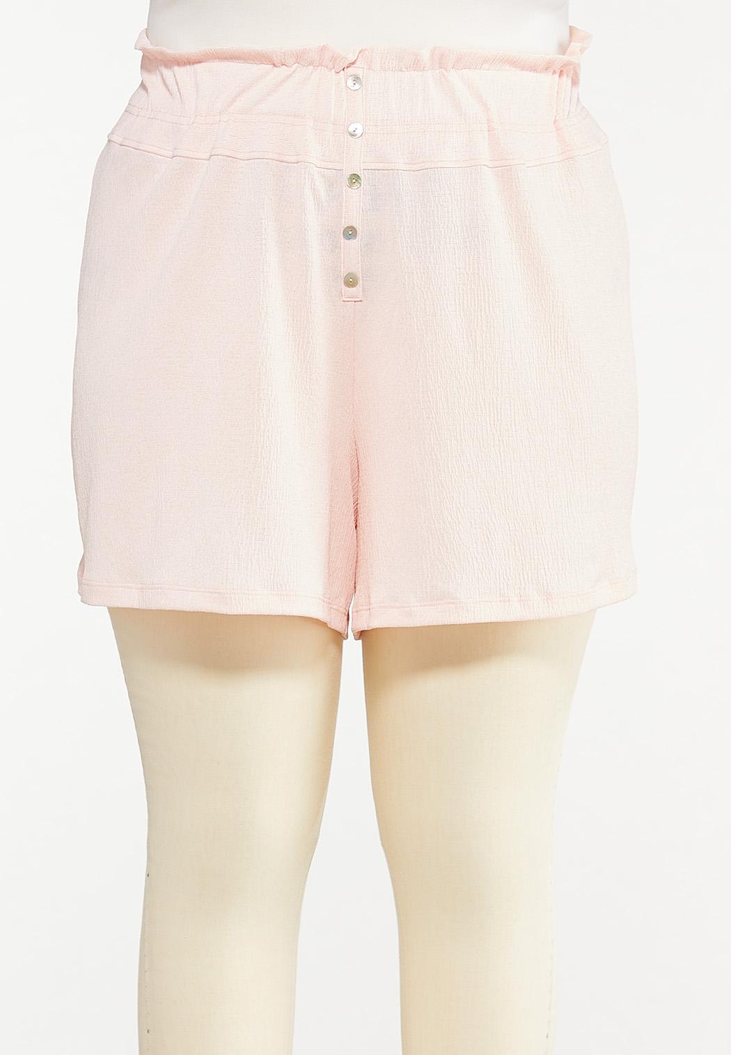 Plus Size Button Front Gauze Shorts