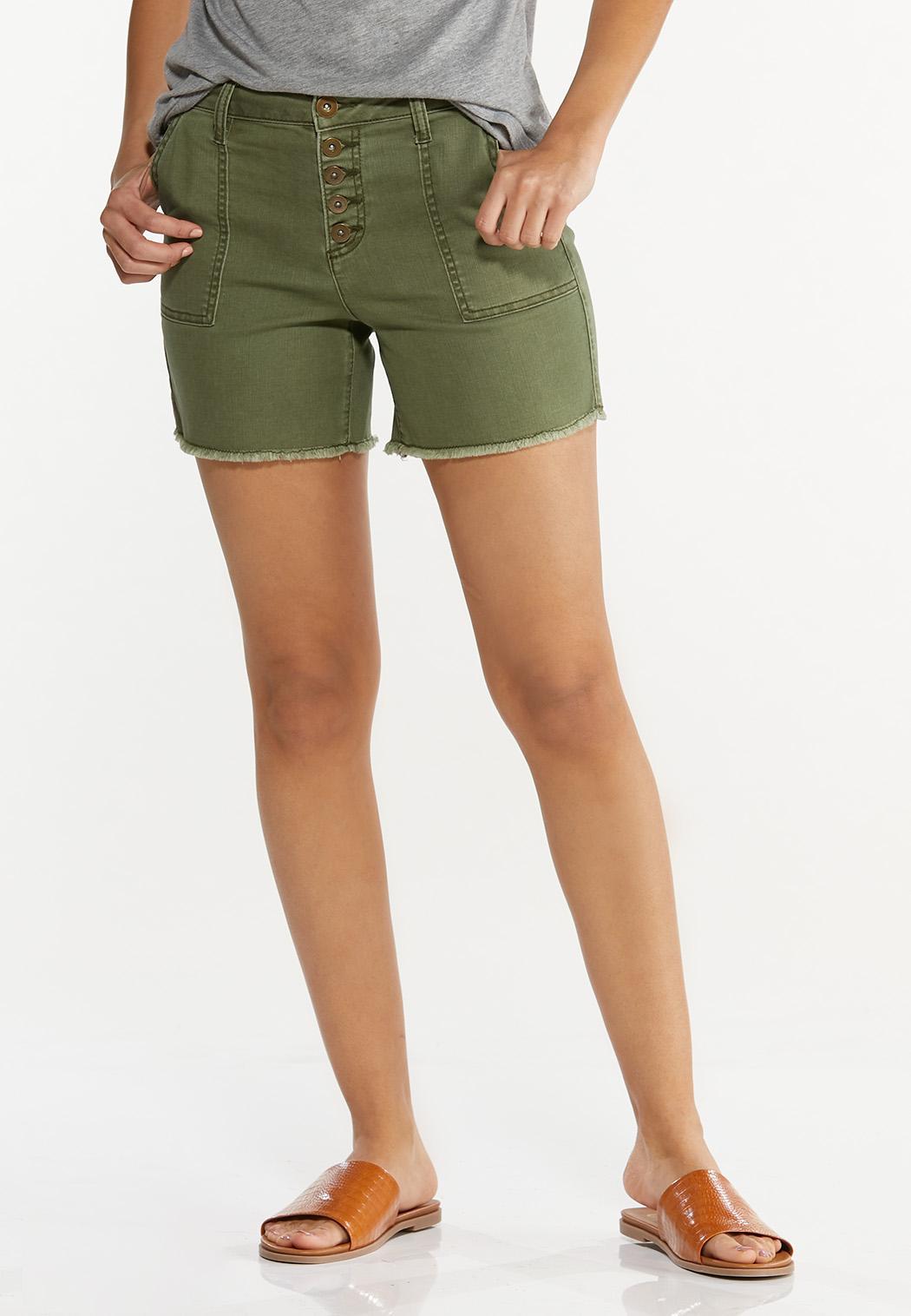 Olive Utility Denim Shorts