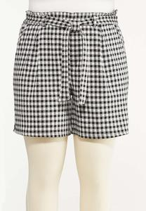 Plus Size Gingham Self Tie Shorts