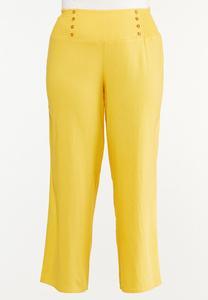 Plus Size Smocked Linen Pants