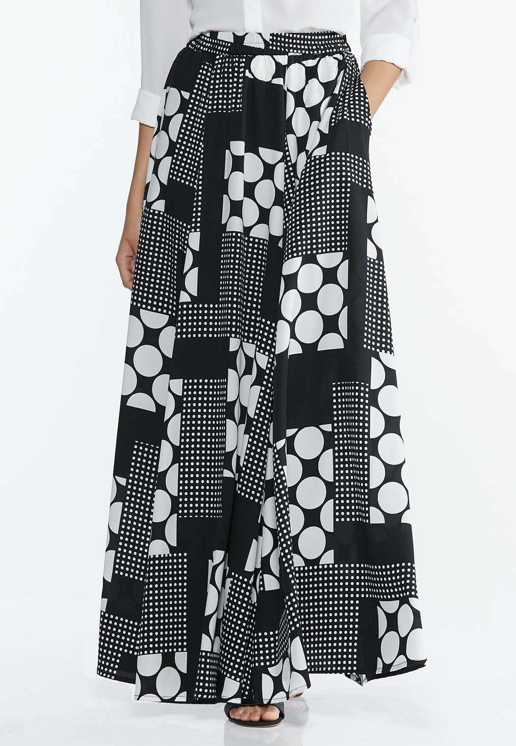 Plus Size Mixed Dot Maxi Skirt
